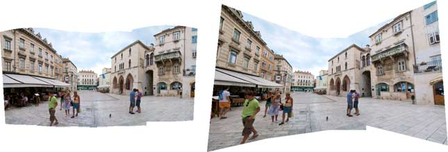 The Auto and the Perspective method offer dramatically different Photomerge results